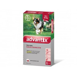 ADVANTIX Chien Moyen 10-25 kg Spot-on 6 pipettes 2.5 ml