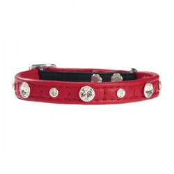 COLLIER COMETE CUIR CHAT ROUGE